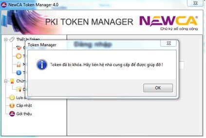 Chữ ký số newca bị khóa mã pin