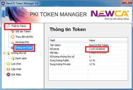 Thông tin serial của Token Newca