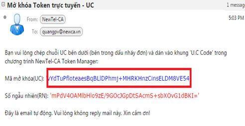 Bạn copy dòng mã UC dán vào Bước 2 của Newca Token Manager
